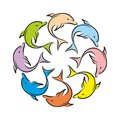 Logo dolphins in color rainbows round of Royalty Free Stock Images