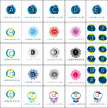Logo template geometric rosette vector set.