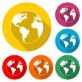 Logo globe, Earth icon, Earth, color set with long shadow Royalty Free Stock Photo
