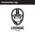 Logo monkey wearing a helmet