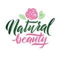 Logo Natural Beauty Vector Lettering. Custom handmade calligraphy. Vector Illustation