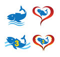 Logo omega fish on heart set Royalty Free Stock Photography