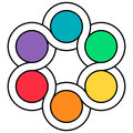 Logo palette of colors, the interweaving of the circuits of the spinner