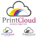 Logo print cloud concept symbol illustration Stock Image
