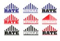 Logo rate many logos roof of the house and the name of the Royalty Free Stock Images