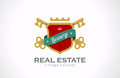 Logo real estate vintage luxury keys and shield w design template with ribbon realty symbol icon old classic style Stock Photos