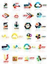 Logo set, abstract geometric business icons, paper style with glossy elements Royalty Free Stock Photo