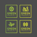 Logo Set Badge Fresh Organic, Eco Product, Bio Ingredient Label Badge with Leaf, Earth, Green Concept Gradient Colour Royalty Free Stock Photo