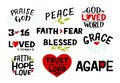 Logo set with Bible verse Faith, Hope, Love, Trust in the Lord, Praise God, 3 16, Blessed, Agape, Grace, Faith fear Royalty Free Stock Photo