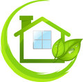 Logo of simple green eco house with leafs Royalty Free Stock Images