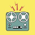Logo style retro outlines. Tape recorder magnetophone. Vector Il Royalty Free Stock Photo