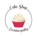 Logo sweet cupcake shop. Template badge logo for bakery. Cake vector illustration