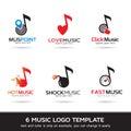 Logo Template Design Vector. Music Logo, Icon, Sign or Symbol.