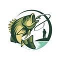 Logo Template Fish and Fisherman Royalty Free Stock Photo