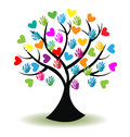 Logo tree hands and hearts Royalty Free Stock Photo