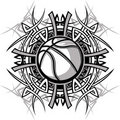 Logo tribal de vecteur de bille de basket-ball Photos libres de droits