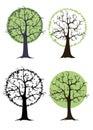 Logo vector green tree crown root