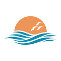 logo with waves and seagulls