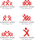 Logo x persons several logos with peoples in action Royalty Free Stock Images