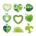 Logos health and the environment in the for collection of vector form of hearts leaves Stock Image