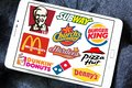 Fast food restaurants brands logos Royalty Free Stock Photo