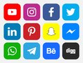 Logos of social networking sites Royalty Free Stock Photo