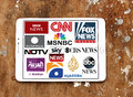 Logos of top famous tv news channels Royalty Free Stock Photo