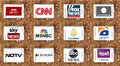 Logos of top famous tv news channels and networks Royalty Free Stock Photo