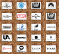 Logos and vector of top famous film studios and productiocinematographyn companies collection vectors most popular in the world on Royalty Free Stock Image