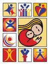 Logotipo-Ícones dos povos Foto de Stock