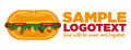 Logotipo do hamburger do fast food Foto de Stock