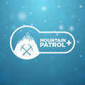 Logotype mountain patrol on blue background Stock Image