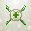 Logotype mountain rescue on white snow backgound Stock Images
