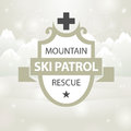 Logotype mountain ski patrol rescue on snow background Royalty Free Stock Images