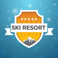 Logotype ski resort five star on blue background Royalty Free Stock Photo