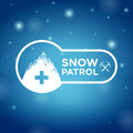 Logotype snow patrol on blue background Royalty Free Stock Photos