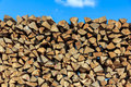 Logs of wood  piled together in lumber-mill Stock Photo