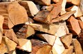 Logs of wood stacked for a fireplace Royalty Free Stock Photo