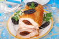 Loin of pork with prune Stock Photos