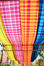 Loincloth thai style or commonly called pah kah mah rectangular grid pattern fabrics vibrant colors are popular woven cotton silk Royalty Free Stock Photo