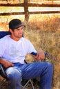 Lokale cowboy relaxing Stock Foto's