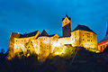 Loket castle czech republic at night in the karlovy vary region Stock Photo