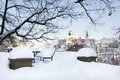 Loket city in winter czech republic with castle view medieval of near karlovy vary Royalty Free Stock Photo