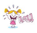 Lol laughing out loud little cute girl illustration Stock Photo