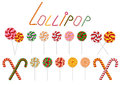 Lollipop and candy cane collection illustration of colorful isolated Royalty Free Stock Image