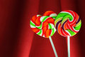 Lollipop candy decoration red background Stock Photo