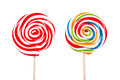 Lollipop candy on stick colorful spiral isolated white background Stock Photography