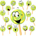 Lollipop cartoon with many expressions isolated on white Royalty Free Stock Photo