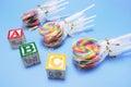 Lollipops with Alphabet Blocks