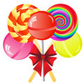 Lollipops background abstract with five on the white phone Royalty Free Stock Photos